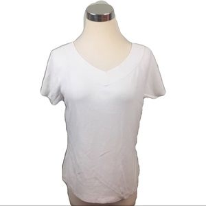 Talbots white v neck short sleeve size M